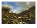 A Herd of Reindeer Fording a Stream in a Mountainous Landscape Posters by Carl-henrik Bogh