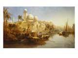 Vessels Moored at the Steps of a Moorish Palace Poster by James Webb