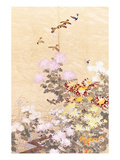 A Hanging of Gold Lame, Embroidered in Silks with Finches Perched Amongst Pink, Yellow and White… Print
