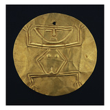 A Fine Quimbaya Gold Pectoral Disc Form with Repousse Hocker Figure Print
