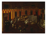 Interior of a North Italian Synagogue During Rosh Ha-Shanah Service Giclée-tryk af  North Italian School