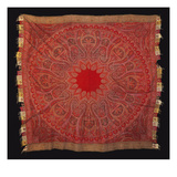 A Square Rumal Shawl Woven a Large Circular Field with Red Centre Giclee Print