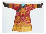 A Bronze Silk Dragon Robe, Woven with Yellow Dragons Posters