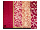 A Selection of Silk Covers and Hangings in Crimson and Ivory Colours Prints