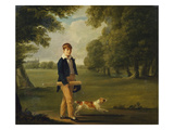 An Eton Schoolboy Carrying a Cricket Bat, with His Dog, on Playing Fields,  Giclée-trykk av Arthur William Devis (Circle of)