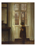 A Girl Standing at a Window Poster by Carl Holsoe