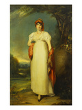 Portrait of Mrs John Halkett in a White Dress, Red Shawl, Coral Necklace and Paisley Turban, in a… Giclee Print by Thomas Lawrence (and Studio)