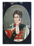 An Anglo Chinese Reverse Glass Painting of George Iv as Prince Regent, Set on a Dark Blue Ground Posters