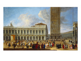 The Piazzetta and the Piazza San Marco, Venice, from the Porta Dell Carta Posters by Luca Carlevaris