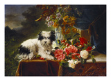 Rhododendrons in a Porcelain Vase with Roses and a Dog on a Draped Table in a Landscape Prints by Adriana-johanna Haanen