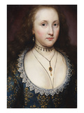 Portrait of a Lady, Mary, Countess of Pembroke in a Blue Gold Embroidered Dress Prints by Cornelius Johnson