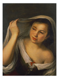 A Young Girl Raising Her Veil Half Length Wearing a Green, Laced Bodice over a White Shirt Art by Bartolome Esteban Murillo