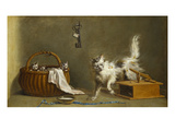 A Mouse Trap with a Cat and Kittens in a Basket Print by Jean Jacques Bachelier