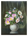 Wild Roses in a Vase on a Ledge Giclee Print by B.C. Ulnitz