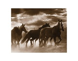 Running Horses and Sunbeams Print by Monte Nagler
