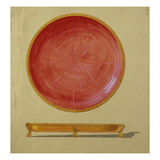 A Design for a Gold-Mounted Circular Guilloche Enamel Dish Giclee Print