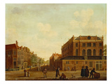 View of Portuguese Synagogue in Amsterdam with Figures in the Foreground Reproduction proc&#233;d&#233; gicl&#233;e par Isaac Ouwater (Circle of)