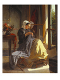 A Woman Sewing by an Open Window Giclee Print by Jules Trayer