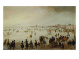 Skaters, Kolf Players, Elegant Ladies and Gentleman on Frozen Floodwaters by the Broederpoort at… Poster by Hendrick Avercamp