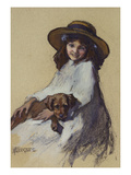 Young Girl with Her Puppy Elizabeth Adela Stanhope Forbes (1859-1912) Giclee Print by Elizabeth Adela Stanhope Forbes