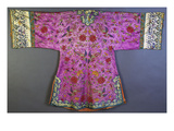 An Informal Robe of Mauve Satin Woven with a Floral Damask Repeat, Embroidered with Pheasants,… Prints