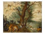 Animals and Birds in the Garden of Eden Giclee Print by Ferdinand van Kessel (Follower of)