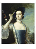 Portrait of a Lady, in a Blue and White Dress, Trimmed with Ribbons, and a Straw Hat with Blue… Prints by Joseph Wright of Derby