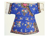 An Informal Robe of Blue Silk, Embroidered with Urns of Flowers, with White Sleevebands Art
