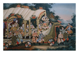 A Large Chinese Reverse Glass Painting Depicting a Festival Procession with Prints