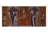 Pope Gregory Ix Handing Down the Decretals, Flanked by Clergy and Laity Giclee Print by  Southern French School