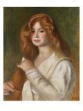 Girl Combing Her Hair Giclee Print by Pierre-Auguste Renoir