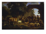 La Rentree Des Bestiaux : a Farmyard with Children Playing on a Donkey, a Shepherd Boy with Sheep… Art by Jean-Louis Demarne