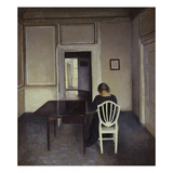 Interior with a Woman Seated on a White Chair Poster by Vilhelm Hammershoi