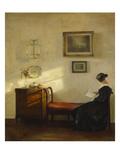 A Woman Reading in an Interior Affischer av Carl Holsoe