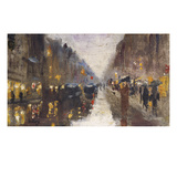 A Berlin Street in the Rain with Traffic; Berliner Strasse Beim Regen Mit Kutschen Giclee Print by Lesser Ury