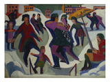 Ice Skating Rink with Skaters; Eisbahn Mit Schlittschuhlaeufern Impression giclée par Ernst Ludwig Kirchner