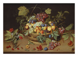 Plums, Peaches and Grapes in a Basket with Carnations and Other Flowers in a Roemer, with… Posters by Jacob Van Hulsdonck