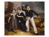 A Group Portrait of Robert, James and Mary Sarah, the Three Children of James Greenhalgh Giclee Print by Ramsay Richard Reinagle