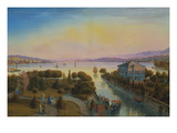 View of the Lake of Zurich with the Villa Rosau Giclee Print by Emanuel Labhardt