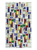 A Leaded and Stained Glass Panel; 'Vetrata Komposite V in Lood' Prints by Theo van Doesburg
