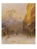 Figures Crossing a Back Street in London, Early Morning, Winter Giclee Print by Henry George Hine
