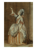 Portrait of Mademoiselle Sainval on Stage Giclee Print by Louis Carrogis