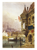A Figure Beside a Building, Ghent, with Barges on the River Leye Beyond Poster by Thomas Shotter Boys