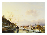 Skaters by a Booth on a Frozen River Poster par Andreas Schelfhout