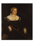 Portrait of a Lady, Three Quarter Length, in a Black Dress and a Lace Colla Prints by Jacopo Robusti Tintoretto (Attr to)