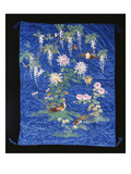 A Cover of Blue Satin, Embroidered in Floss Silks with Pheasants and Chrysanthemums, Beneath a Giclee Print
