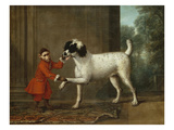 A Monkey Wearing Crimson Livery Dancing with a Poodle on the Terrace of a Country House Lmina gicle por John Wootton