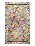 A Wall Hanging of Pearl Grey Silk Embroidered with a Menagerie of Exotic Animals, Including… Premium Giclee Print