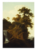 Rocky Landscape with a Waterfall Giclee Print by Joseph Wright of Derby