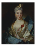 Portrait of a Lady, Wearing a White Dress and a Blue Cloak, with Red Flowers in Her Corsage, a… Prints by Nicolas de Largilliere